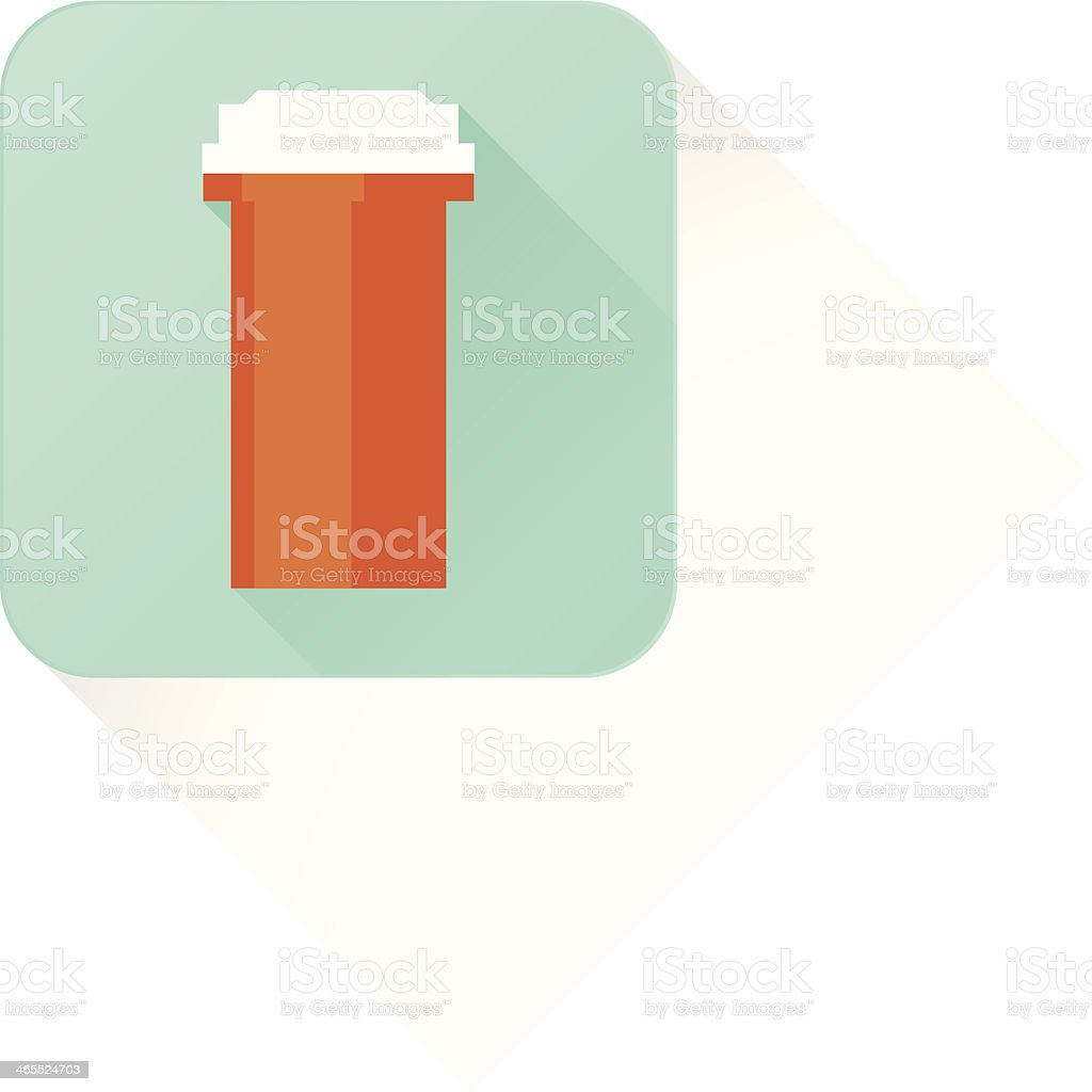 long shadow medicine bottle vector art illustration