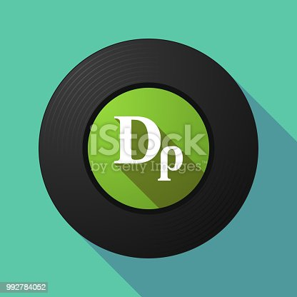 Illustration of a long shadow vinyl long play disc with a drachma currency sign