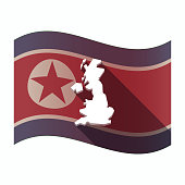 Long shadow North Korea flag with  a map of the UK