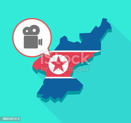 Illustration of a long shadow North Korea map, his flag and a comic balloon with a film camera