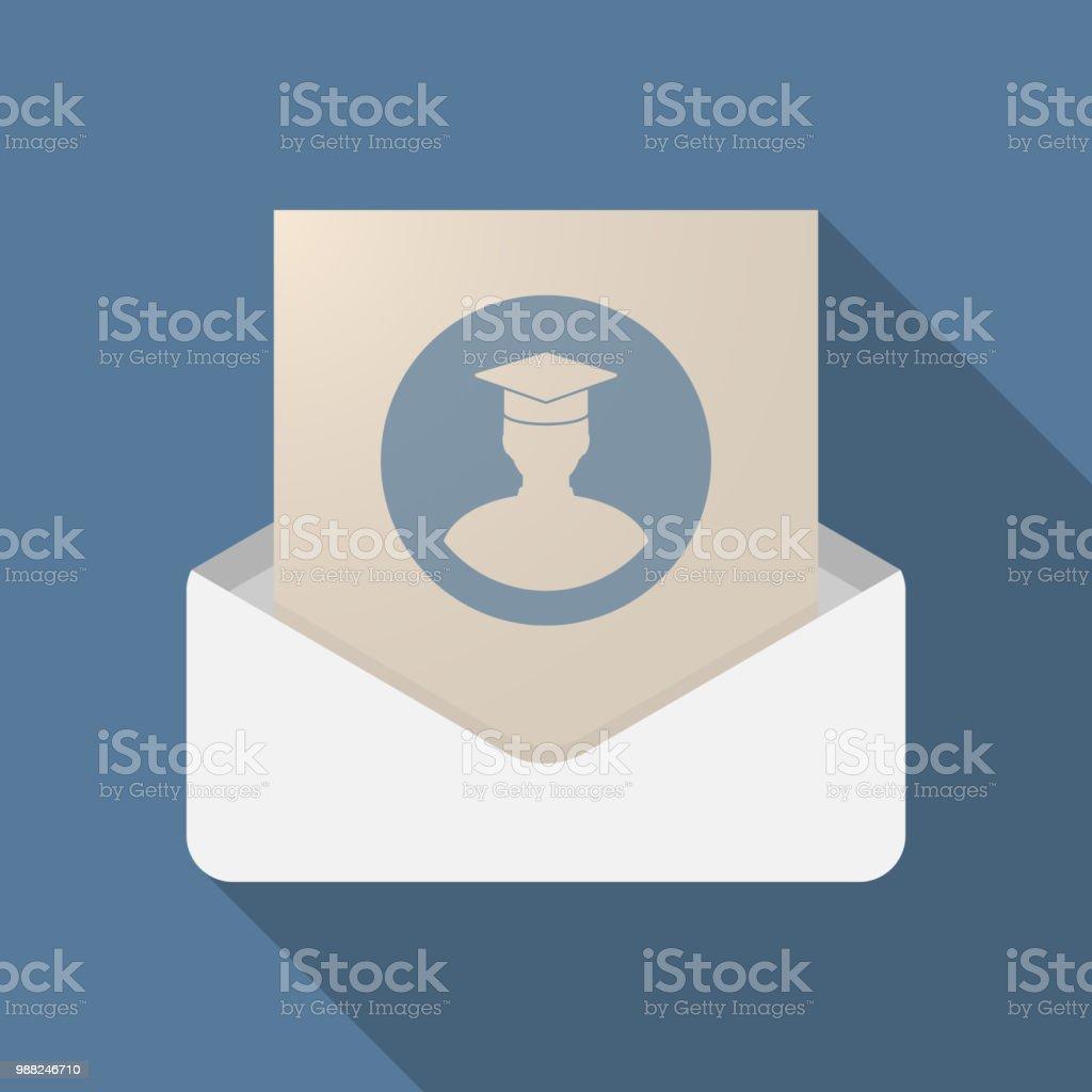 Langer Schatten Brief öffnete Mit Einem Schüler Stock Vektor Art Und