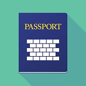 Long shadow passport with  a brick wall