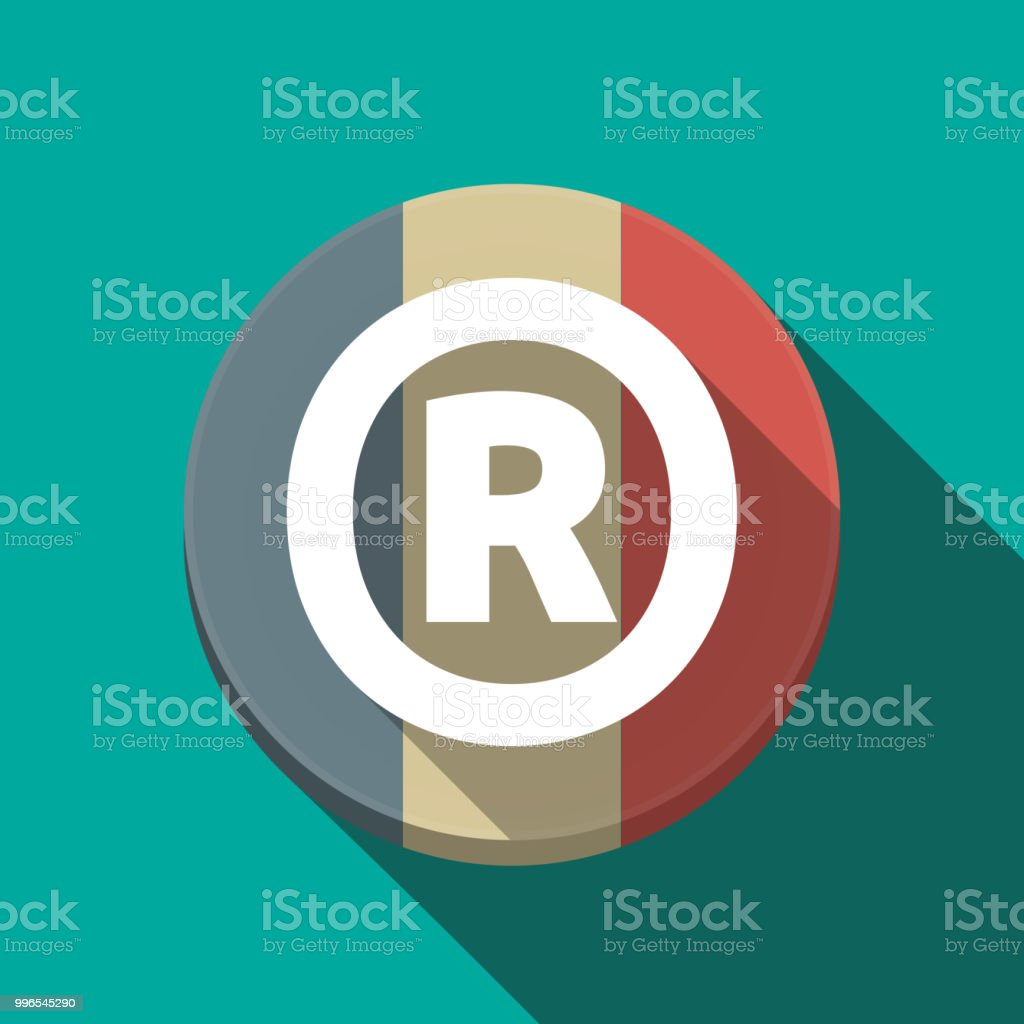 Long Shadow Round Button With The Registered Trademark Symbol Stock