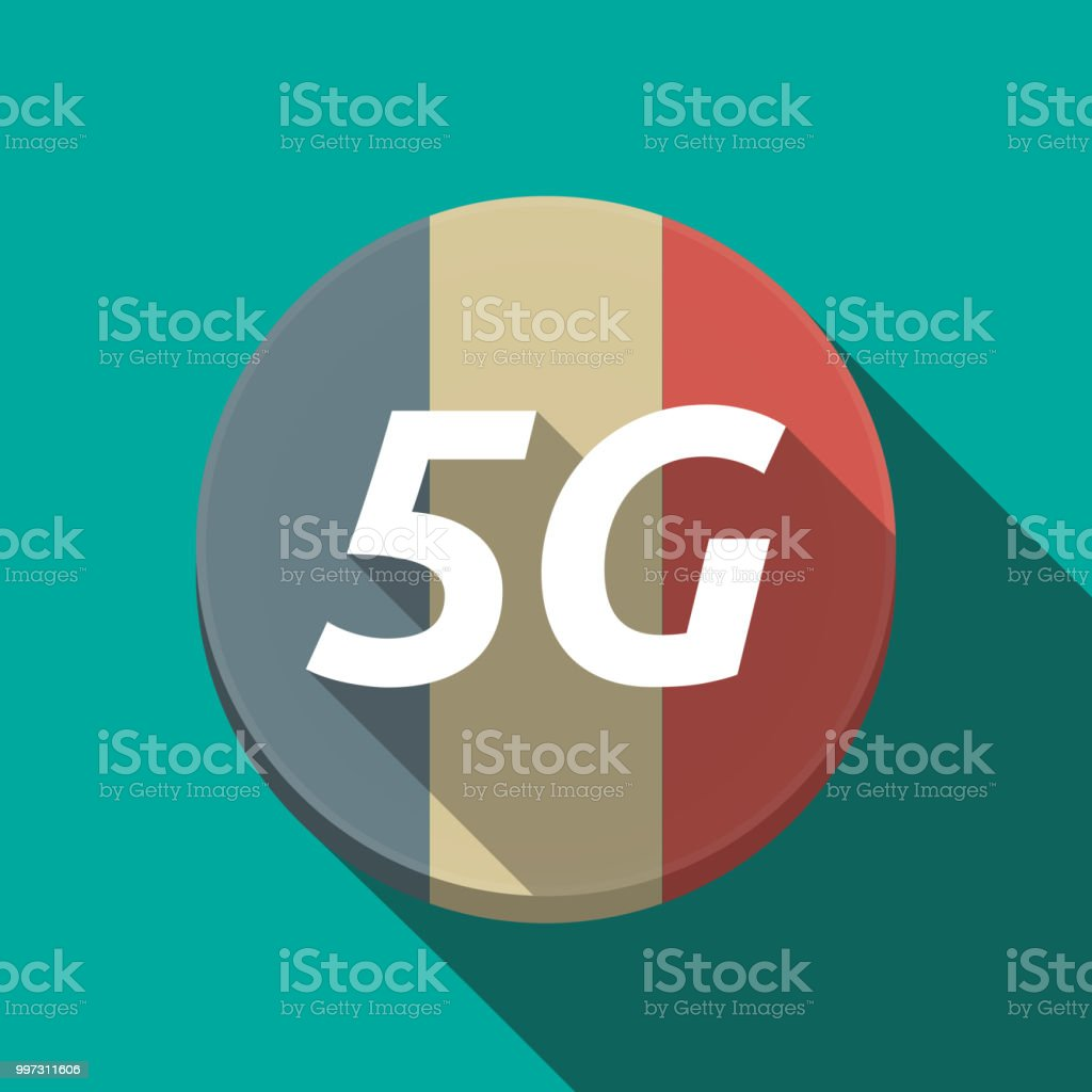 Long shadow  round button with    the text 5G vector art illustration