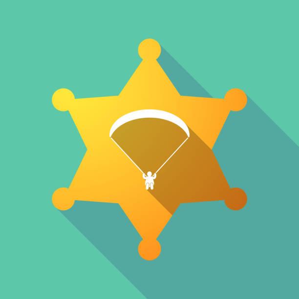 ilustrações, clipart, desenhos animados e ícones de sombra longa estrela de xerife com um parapente - ícones de design planar