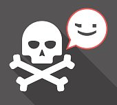 Illustration of a long shadow  skull with a comic balloon and  a wink text face emoticon