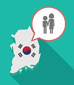 Long shadow South Korea map with a childhood pictogram
