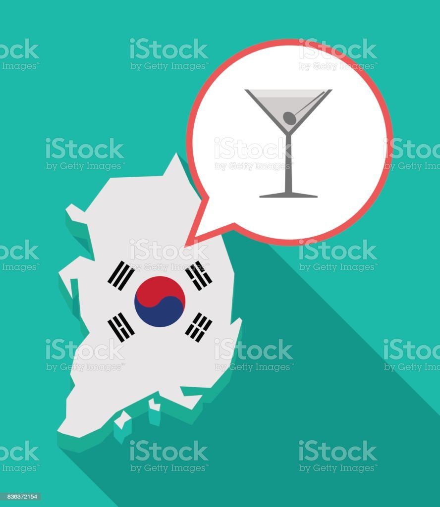 Long shadow South Korea map with a cocktail glass vector art illustration