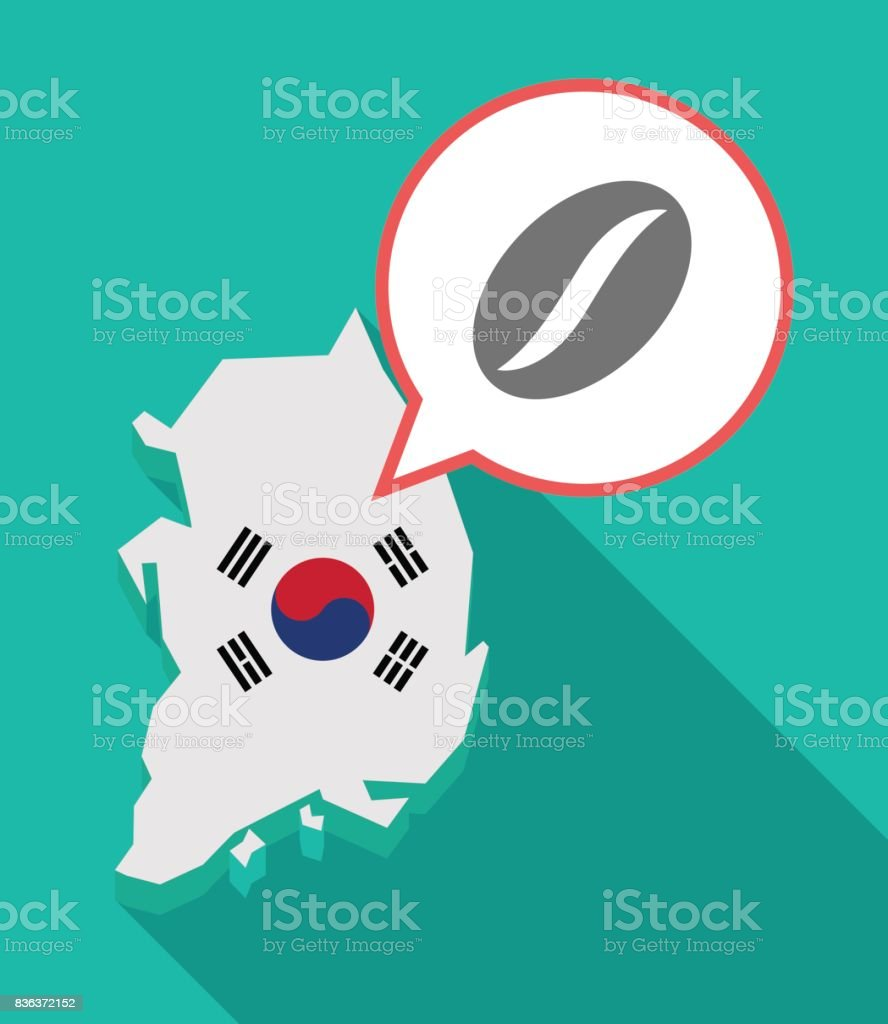 Long shadow South Korea map with a coffee bean vector art illustration