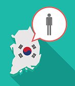 Long shadow South Korea map with a male pictogram