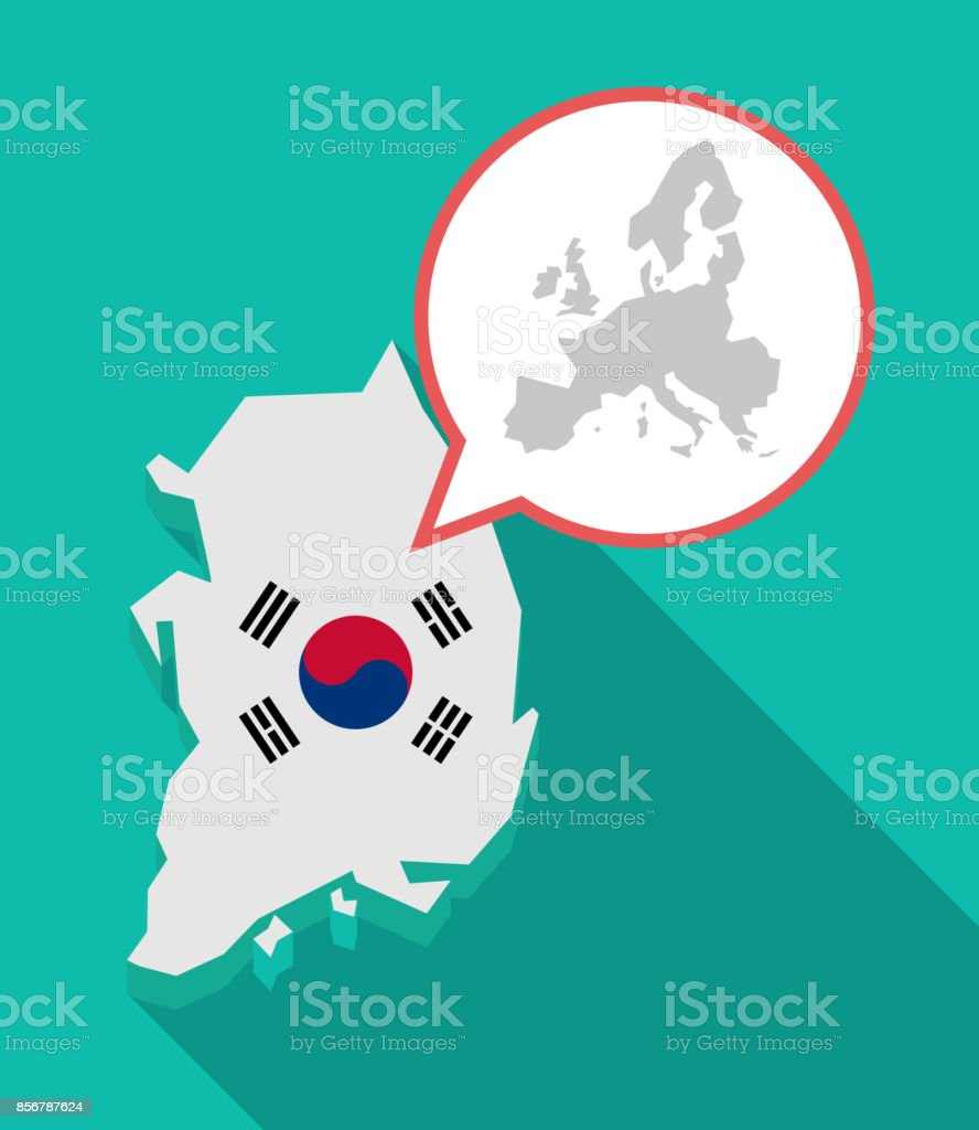 long shadow south korea map with a map of europe vector id856787624 - Полуостров Корея. География.