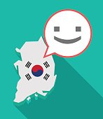 Long shadow South Korea map with a smile text face