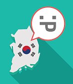 Long shadow South Korea map with a sticking out tongue text face