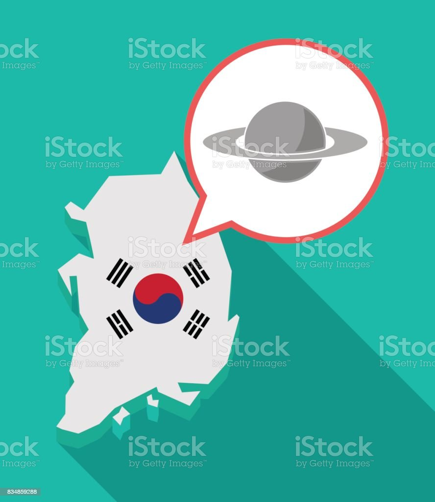 Long Shadow South Korea Map With The Planet Saturn Stock