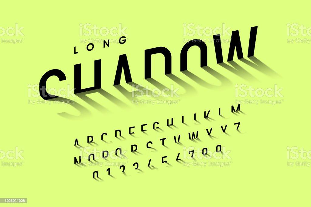 Long shadow style font vector art illustration