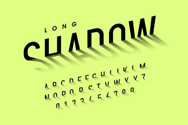stockillustraties, clipart, cartoons en iconen met lange schaduw stijl lettertype - lang lengte