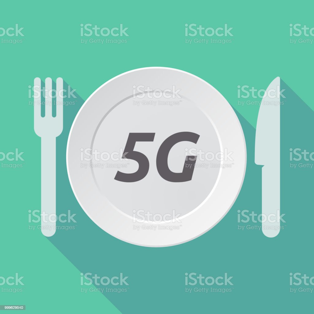 Long shadow tableware with    the text 5G vector art illustration