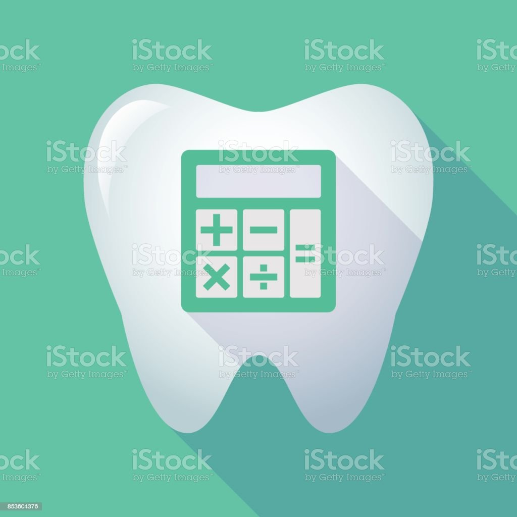 Long shadow tooth with  a calculator vector art illustration
