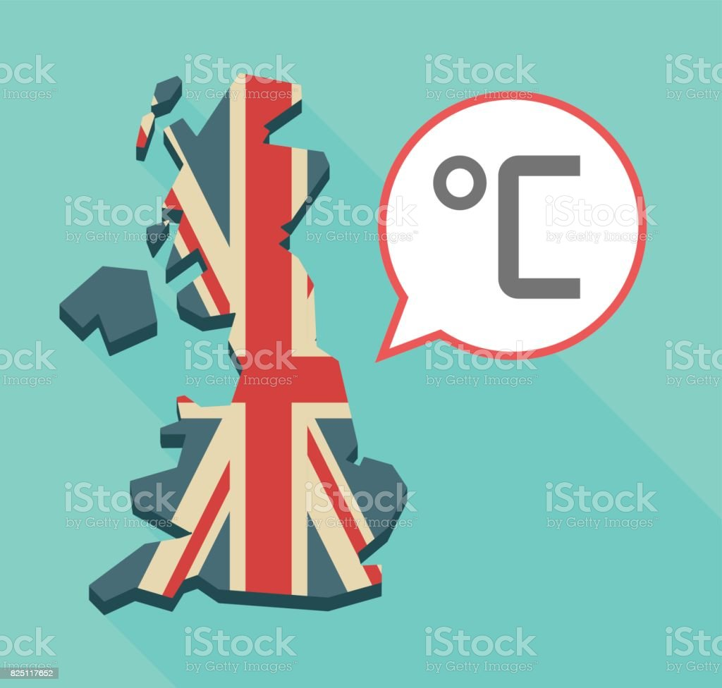 Long Shadow Uk Map With A Celsius Degree Sign Stock Vector Art
