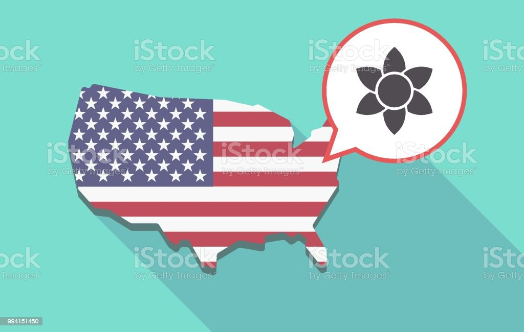 Long shadow USA map with  a lotus flower