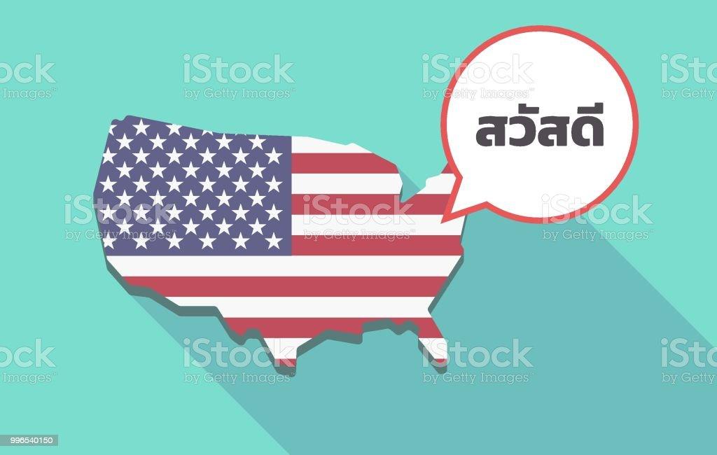 Thailande Carte Langues.Lombre Longue Carte Des Usa Avec Le Texte Hello Dans La Langue Thai