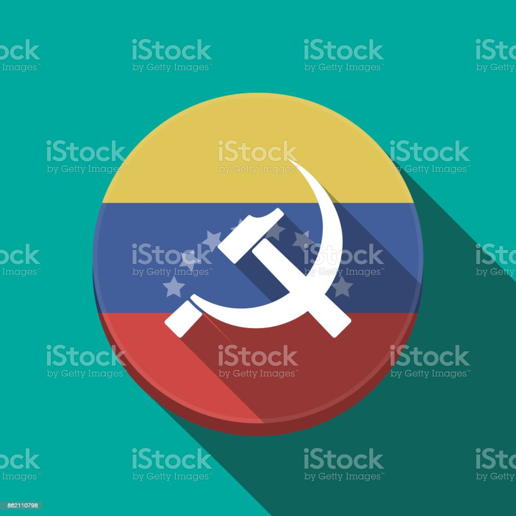 Long Shadow Venezuela Button With The Communist Symbol Stock Vector
