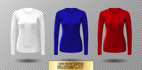 Long Sleeve Blank Shirt Vector White Red And Blue Shirt