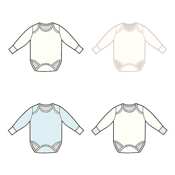 kleinkind-strampler mit langen ärmeln - bodysuit stock-grafiken, -clipart, -cartoons und -symbole