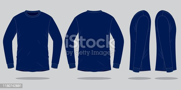 istock Long Sleeve Navy Blue T-Shirt Vector for Template 1150742691