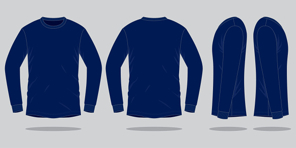 Long Sleeve Navy Blue Tshirt Vector For Template Stock