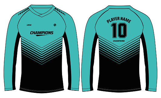 Long sleeve Racing t shirt, Sports jersey design concept vector template, abstract pattern Motocross jersey concept with front and back view , Cricket, football, Volleyball uniform designs