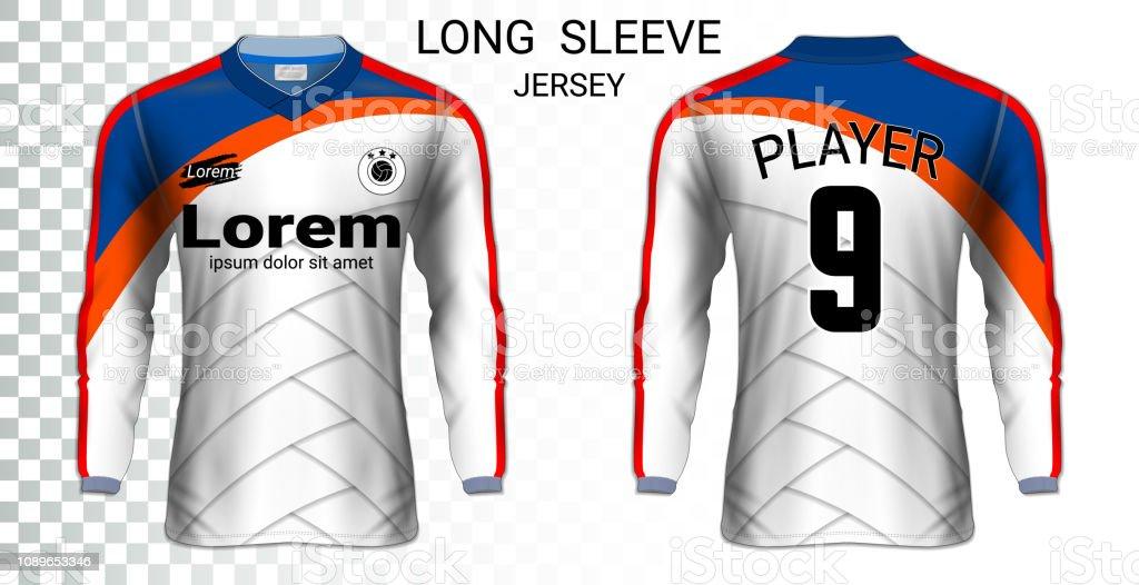 Long Sleeve Soccer Jerseys Tshirt Sport Mockup Template Realistic
