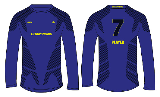 Long sleeve Sports t-shirt jersey design concept vector template, sports jersey concept with front and back view for Soccer, Cricket, Football, Volleyball, Rugby, tennis, badminton uniform.