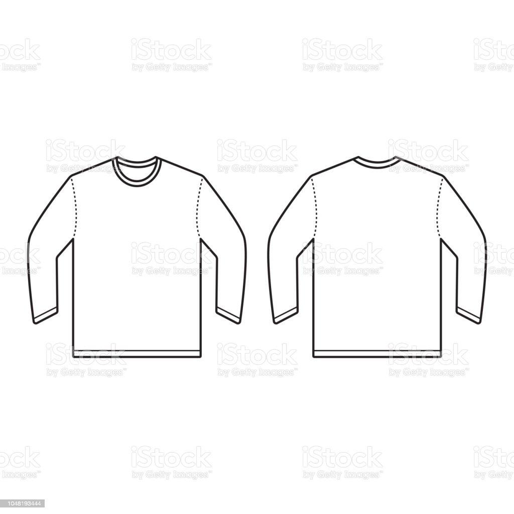 90af51b58 Vetor de Trás Frente E Desenho Vetorial De Tshirt De Manga Comprida ...