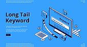 istock Long tail keyword isometric landing page, banner 1205589620
