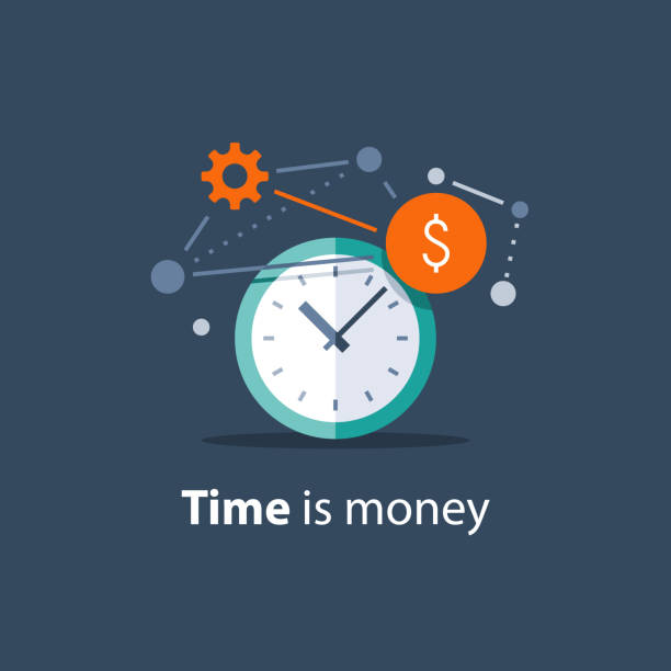 Long term investment, time is money concept, financial future planning, pension savings fund, finance solutions, time management Time is money concept, long term investment, financial future planning, pension savings fund, finance solutions, payment deadline, time management, vector icon, flat design illustration time is money stock illustrations