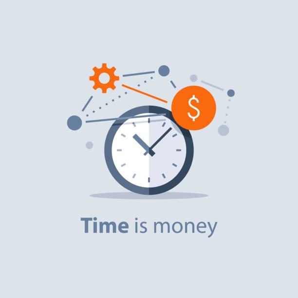 Langfristige Investitionen, Zeit ist Geld-Konzept, finanzielle Zukunftsplanung, Pensionskasse Einsparungen, Lösungen zu finanzieren, Zeitmanagement – Vektorgrafik