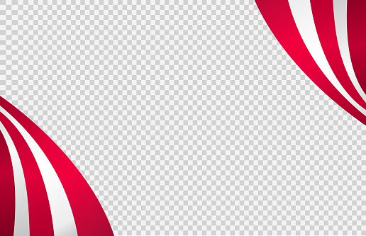 Long waving flag of American isolated  on png or transparent  background,Space for images,text, Symbols of USA , template for banner,card,promote, ads, web design,poster, vector illustration