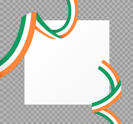 Long waving flag of Ireland isolated  on png or transparent  background,Space for images,text, Symbols of Ireland , template for banner,card,promote, ads, web design,poster, vector illustration