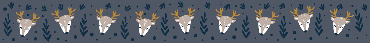 Long web banner with cute deer faces