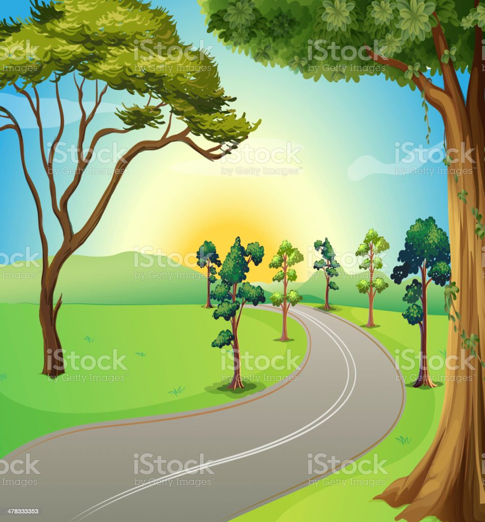 Long winding road at the forest royalty-free stock vector art