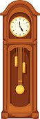Longcase grandfather clock isolated on white. Vector illustration.