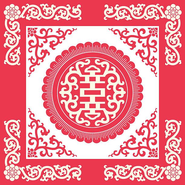 długowieczność symbole (chiński tradycyjny wzór - chinese new year stock illustrations