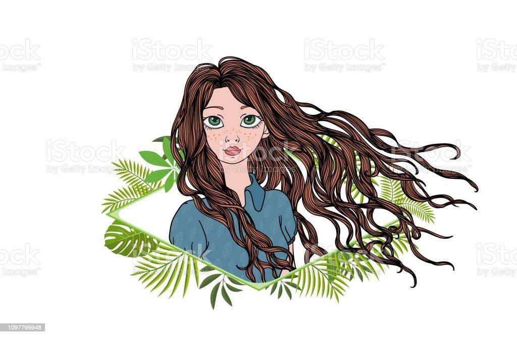 Fille aux cheveux longs dans un cadre floral vert. Illustration vectorielle plat coloré. Isolé sur fond blanc. - Illustration vectorielle