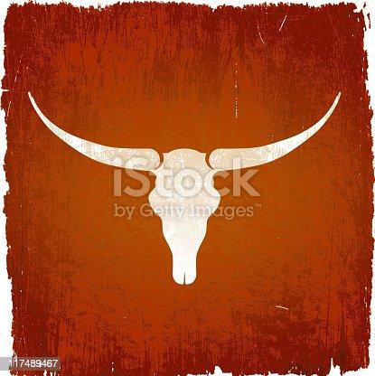 istock Longhorn bull skull on royalty free vector Background 117489467