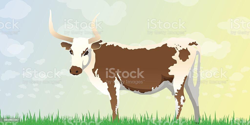 Longhorn Cow Background vector art illustration