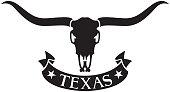 Texas Design with Longhorn Head Skull