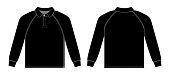 long-sleeve polo shirt , jersey shirt / black