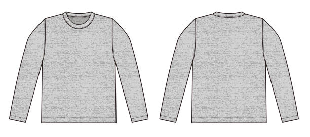 Longsleeve t-shirt illustration (heather gray) /front,back vector art illustration