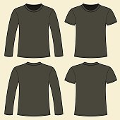 Long-sleeved T-shirt and T-shirt template